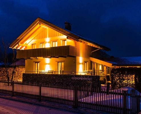 Ferienhaus Alpenblicke Winter Abend