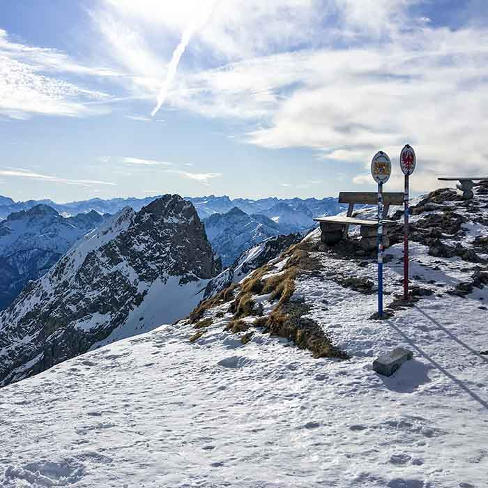 Grenze zwischen Bayern und Österreich an der westlichen Karwendelspitze
