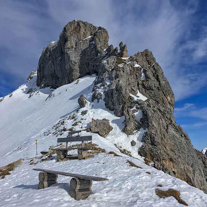 Die westliche Karwendelspitze im Winter